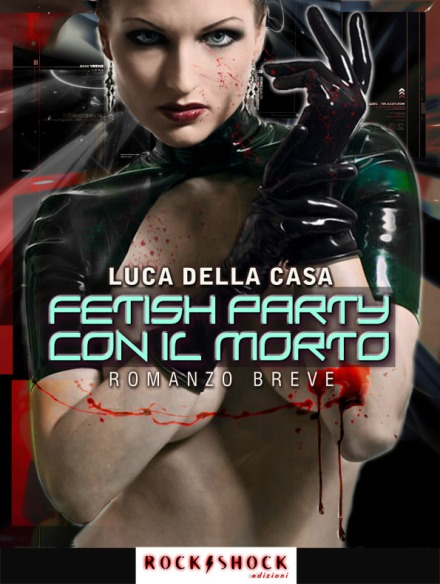 assassina con guanti e blusa di latex fetish party con il morto noir di Luca Della Casa artwork @designdcl